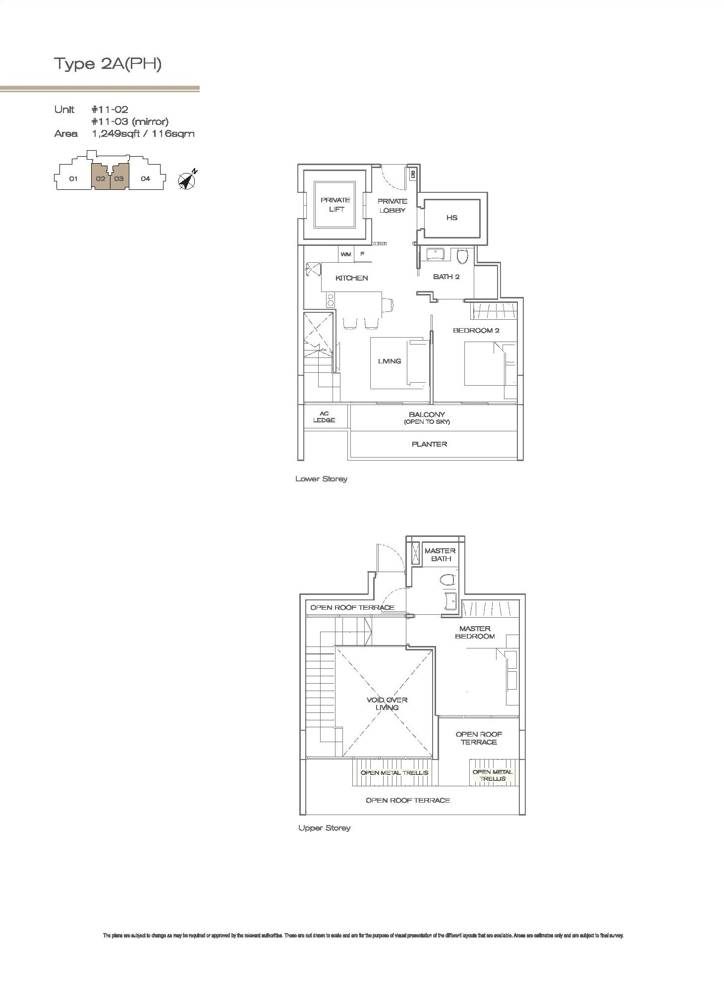 Three Balmoral 2 Bedroom Penthouse Type 2A(PH) Floor Plans