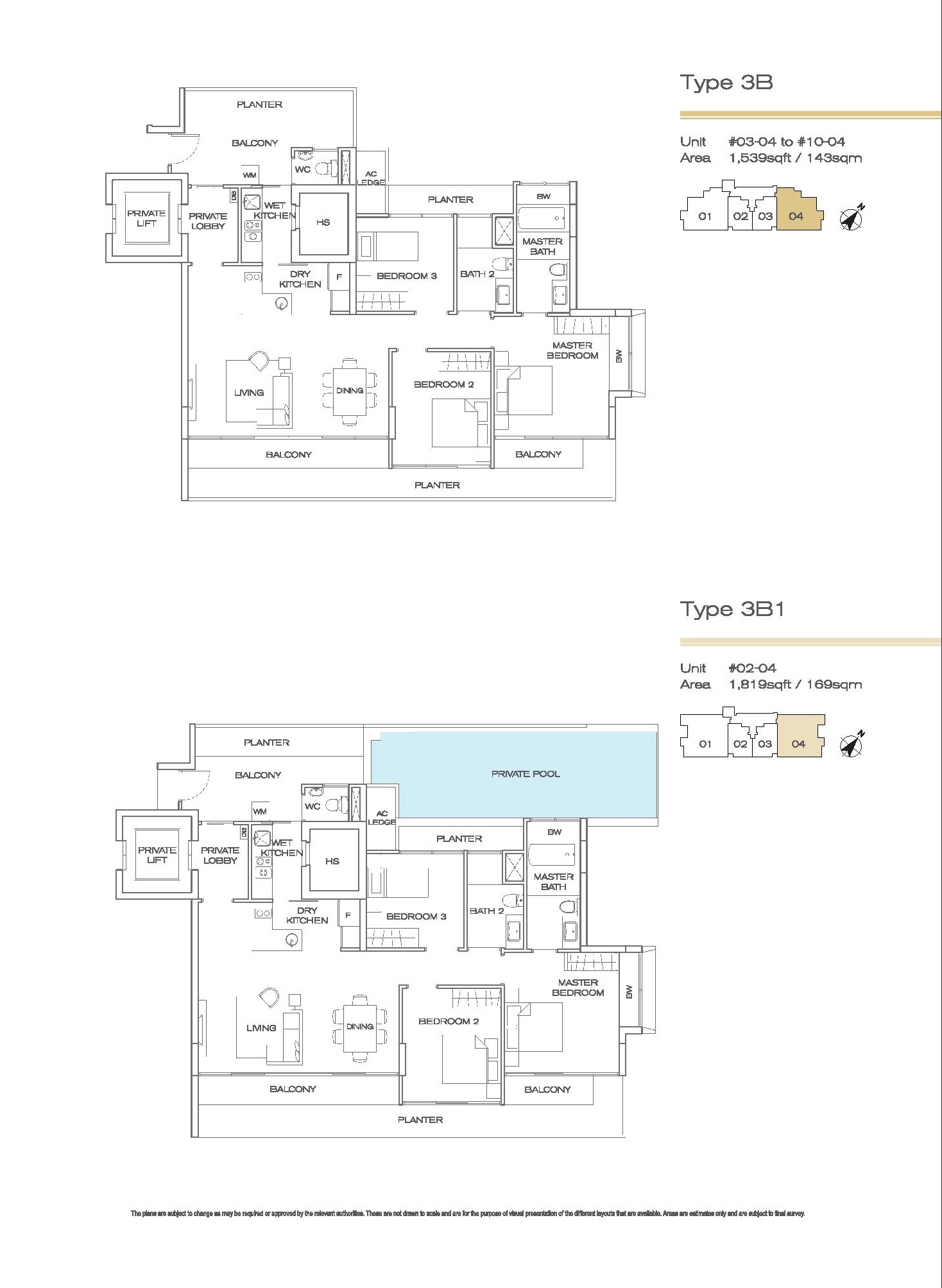 Three Balmoral 3 Bedroom Type 3B, 3B1 Floor Plans